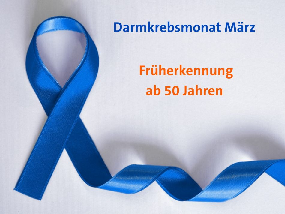 Awareness-Schleife in blau für Darmkrebsmonat